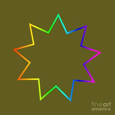 Rainbow Bahai Symbol Art Print by Frederick Holiday
