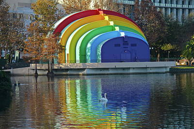 Photograph - Rainbow Bandshell And Swan by Denise Mazzocco