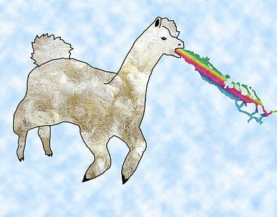 Llama Digital Art - Rainbow Barfing Llama by Z Allender