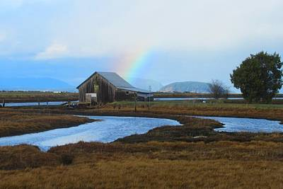 Photograph - Rainbow, Bay, And Barn by Karen Molenaar Terrell