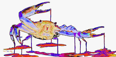 Fiddler Digital Art - Rainbow Blue Crab by Ken Figurski