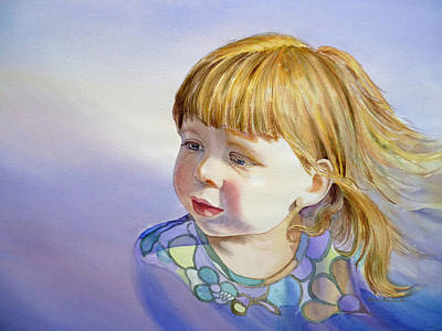 Toddler Portrait Painting - Rainbow Breeze Girl Portrait by Irina Sztukowski