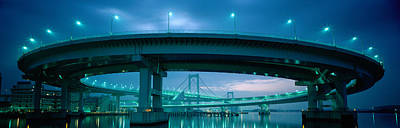 Rainbow Bridge And Daiba Line Tokyo Art Print by Panoramic Images