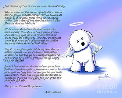 Rainbow Bridge Bichon Angel Art Print