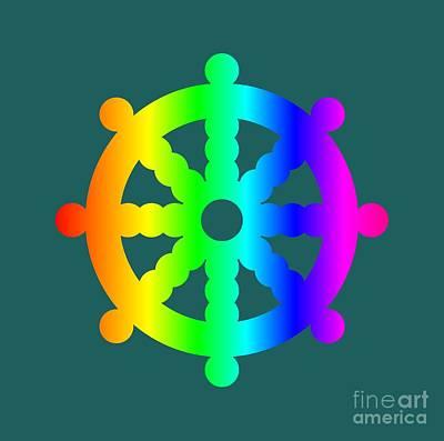 Rainbow Buddhism Symbol Art Print by Frederick Holiday