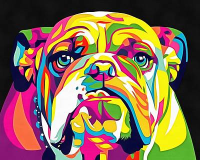 Bulldog Oil Painting - Rainbow Bulldog by Vadim Pavlov