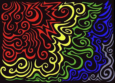 Colorful Abstract Drawing - Rainbow Burst Tribal by Mandy Shupp