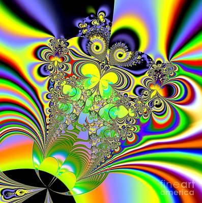 Digital Art - Rainbow Butterfly Bouquet Fractal Abstract by Rose Santuci-Sofranko