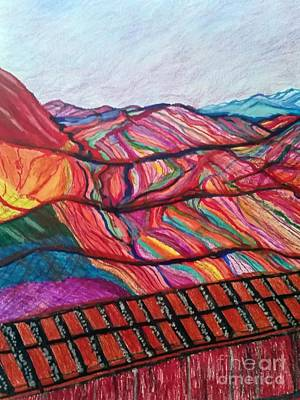 Death Valley Drawing - Rainbow Canyons  by Ishy Christine MudiArt Gallery