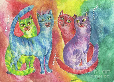 Painting - Rainbow Cats 2017 06 23 by Angel Ciesniarska