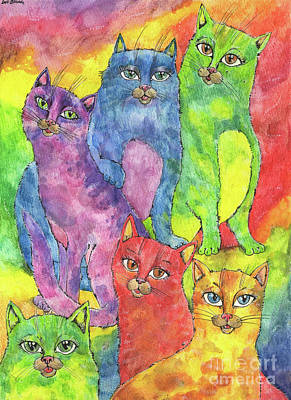 Painting - Rainbow Cats 2017 07 01 by Angel Ciesniarska