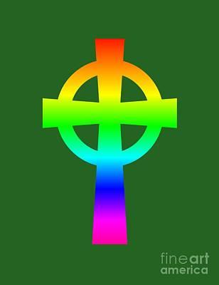 Rainbow Celtic Catholic Cross Art Print by Frederick Holiday