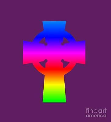 Rainbow Celtic Cross Art Print by Frederick Holiday