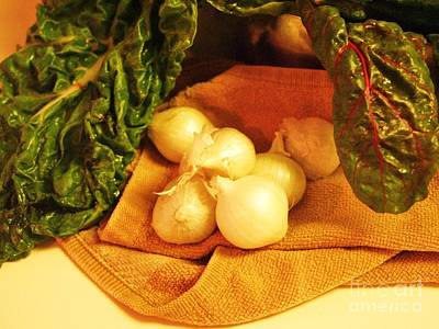 Rainbow Chard And Pearl Onions Art Print by Jamey Balester