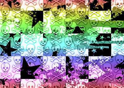Digital Art - Rainbow Checker Skull Splatter by Roseanne Jones