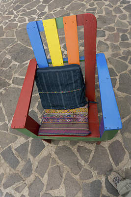 Painting - Rainbow Color Painted Garden Chair  by Judith Barath