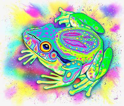 Digital Art - Rainbow Color Peace Frog by Nick Gustafson