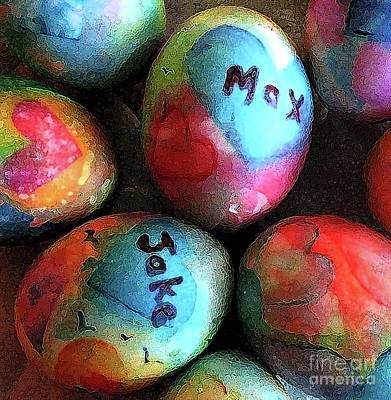 Painting - Rainbow Colored Easter Eggs by Hazel Holland