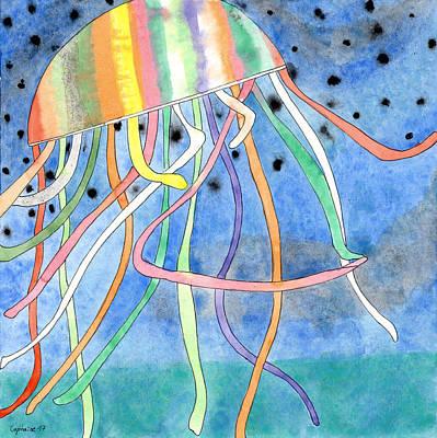 Rainbow Colored Jelly Fish  Original
