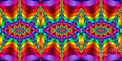 Digital Art - Rainbow Colored Light Waves Heartbeat Fractal by Rose Santuci-Sofranko