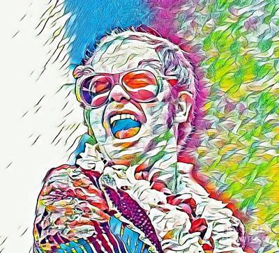 Elton John Digital Art - Rainbow Colors Elton John by Pd