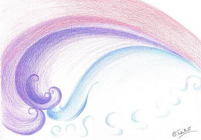 Drawing - Rainbow Colour Waves by Teresa White