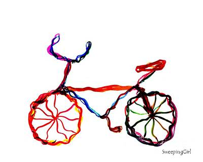 Gypsy School Painting - Rainbow Cycling by Sweeping Girl