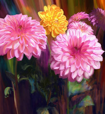 Painting - Rainbow Dahlias by Julianne  Ososke