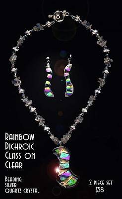 Fused Glass Mixed Media - Rainbow Dichroic Glass On Clear Necklace And Earrings Set by Michelle Lake
