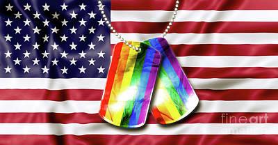 Rainbow Dog Tags Art Print