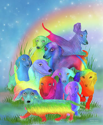 Dachshund Puppy Mixed Media - Rainbow Doxies 1 by Carol Cavalaris