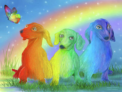 Dachshund Puppy Mixed Media - Rainbow Doxies 2 by Carol Cavalaris