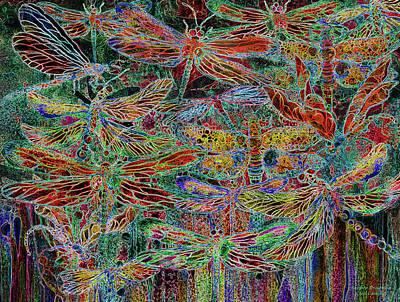 Mixed Media - Rainbow Dragonflies by Carol Cavalaris