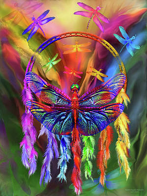Mixed Media - Rainbow Dragonfly Dream Catcher by Carol Cavalaris