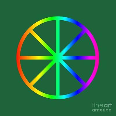 Rainbow Eight Spoke Wheel Art Print by Frederick Holiday