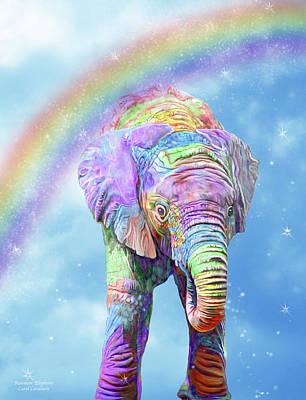 Mixed Media - Rainbow Elephant by Carol Cavalaris