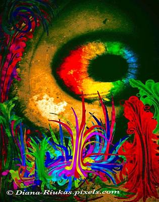 Digital Art - Rainbow Eyeball In Forest by Diana Riukas