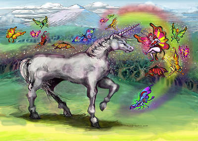 Faerie Painting - Rainbow Faeries And Unicorn by Kevin Middleton