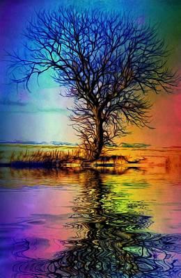 Digital Art - Rainbow Fall Over... by Lilia D