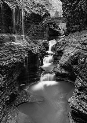 Finger Lakes Photograph - Rainbow Falls Gorge - Watkins Glen by Stephen Stookey