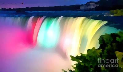 Broadcast Painting - Rainbow Falls Soft And Dreamy In Thick Paint by Catherine Lott