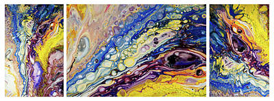 Painting - Rainbow Feathers Triptych. Fluid Acrylic Painting by Jenny Rainbow