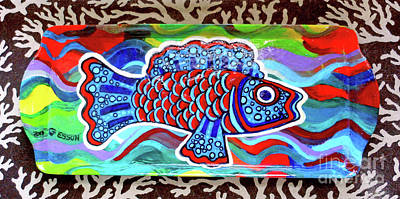 Painting - Rainbow Fish Tray Framed By Coral Reef by Genevieve Esson