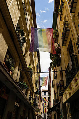 Photograph - Rainbow Flags Decorating Madrid For Worldpride 2017 Celebrations by Georgia Mizuleva