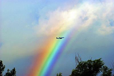 Rainbow Flight Over Denver Colorado Art Print