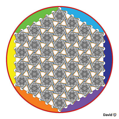 Digital Art - Rainbow Flower Of Life Bow by David Diamondheart