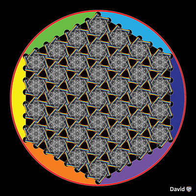 Digital Art - Rainbow Flower Of Life Wob by David Diamondheart