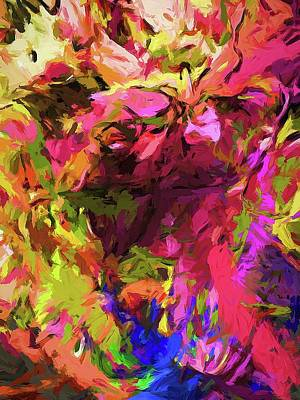 Digital Art - Rainbow Flower Rhapsody Pink Cobalt Blue by Jackie VanO