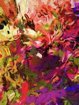 Digital Art - Rainbow Flower Rhapsody Purple Green by Jackie VanO