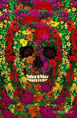 Rainbow Flowers Sugar Skull Art Print